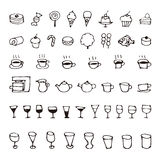 Hand drawn sweets and drink sketch icons. Hand drawn cute sweets and drink sketch icons stock illustration