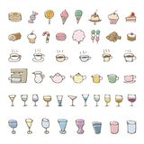 Hand drawn sweets and drink sketch icons Royalty Free Stock Photos