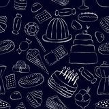 Hand drawn sweets seamless pattern on dark background stock illustration