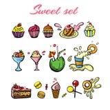 Hand drawn sweets set. Set for design and menu vector illustration