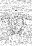 Hand drawn swimming turtle with high details. Swimming turtle with high details for anti stress coloring page, illustration in tracery style. Abstract pattern Royalty Free Stock Images