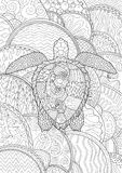 Hand drawn swimming turtle with high details. Swimming turtle with high details for anti stress coloring page, illustration in tracery style. Abstract pattern Royalty Free Stock Photography