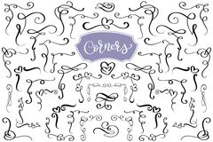 Hand drawn swirl and flourish love corners in the shape of a heart. Calligraphic design elements. Vintage Vector Stock Image