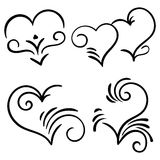 Hand drawn  swirl heart elements Royalty Free Stock Photos
