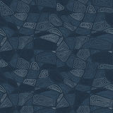 Hand drawn swirls. Seamless pattern. Dark blue background. Stock Photography