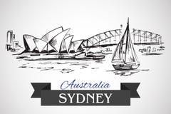 Hand drawn Sydney Opera House and Sydney Harbour Bridge. On grey background Stock Image