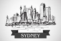 Hand drawn Sydney sityscape Stock Photography