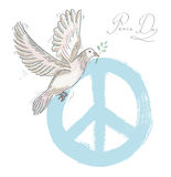 Hand drawn symbol peace dove texture background EPS10 file. Stock Photo