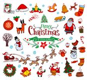 Christmas doodle symbols Royalty Free Stock Photography