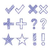 Hand drawn symbols Stock Images