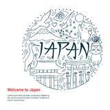 Hand drawn symbols of Japan. Japanese culture and architecture. The main attractions of Asia Royalty Free Stock Images