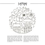 Hand drawn symbols of Japan. Japanese culture and architecture. The main attractions of Asia Royalty Free Stock Photos