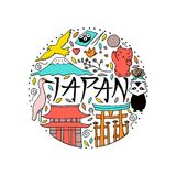 Hand drawn symbols of Japan. Japanese culture and architecture. The main attractions of Asia Stock Photography