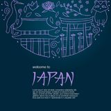 Hand drawn symbols of Japan. Japanese culture and architecture. The main attractions of Asia Royalty Free Stock Photography