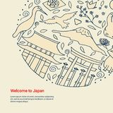 Hand drawn symbols of Japan. Japanese culture and architecture. The main attractions of Asia Royalty Free Stock Image