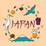 Hand drawn symbols of Japan. Japanese culture and architecture. The main attractions of Asia Stock Photo