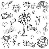Hand Drawn Symbols of Peace. Doodle Drawings of Dove, Tree, Hearts, Sun, Rainbow. Stock Photo