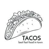 Hand drawn tacos icon. vector illustration