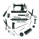 Hand Drawn Tailor Elements Collection. With sewing tools and accessories in circle  vector illustration Stock Images