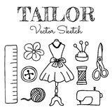Hand-drawn Tailor Elements Royalty Free Stock Image
