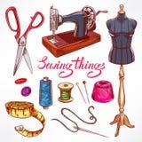 Hand-drawn tailoring equipment Stock Image