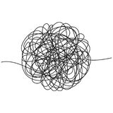 Hand drawn tangle of tangled thread. Sketch spherical abstract scribble shape. Chaotic black line doodle. Vector illustration royalty free illustration