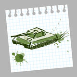 Hand drawn tank in a notebook. Sketch in vector illustration