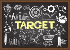 Hand drawn TARGET on chalkboard. Business plan. Royalty Free Stock Photography