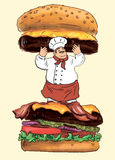 Hand Drawn Tasty Burger and Pro Chef Stock Images