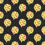 Hand drawn tasty pizza circles vector seamless pattern. Isolated vector illustration on black background. Stock Photo