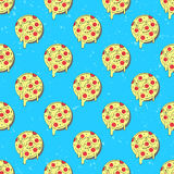Hand drawn tasty pizza circles vector seamless pattern.  Stock Images