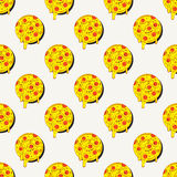 Hand drawn tasty pizza circles vector seamless pattern.  Stock Photos