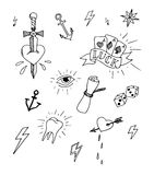 Hand drawn tattoo design elements Stock Photos