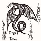 Hand drawn tattoo with engraved dragon. Vector hand drawn tattoo with winged dragon Royalty Free Stock Photos