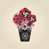 Hand drawn tattoo flowers in black vase Stock Image