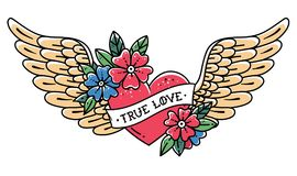 Hand drawn tattoo flying heart with wings. Tattoo heart with ribbon and flowers. Tattoo with phrase TRUE LOVE Royalty Free Stock Photo