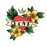 Hand drawn tattoo heart with ribbon and leaves Royalty Free Stock Image