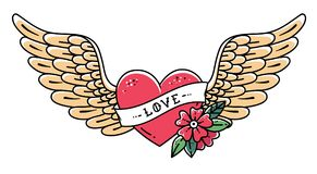 Hand drawn tattoo heart with wings, ribbon, flower and word LOVE. Flying heart, vector illustration Royalty Free Stock Images