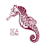 Hand drawn, tattoo stylised seahorse. Marine life sketch zentangle Stock Images