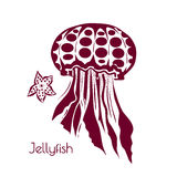 Hand drawn, tattoo stylized jellyfish. Marine life sketch zentangle design element for summer vacation vector Stock Photo