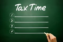 Hand drawn TAX TIME blank list, business concept on blackboard Stock Images