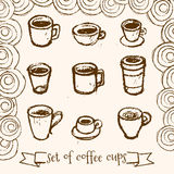 Hand drawn tea and coffee cups. Royalty Free Stock Image