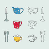 Hand- drawn Tea Coffee symbols Stock Images