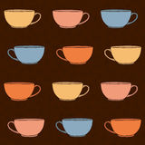 Hand drawn Tea Cups Illustration. Seamless vector pattern. Stock Photography