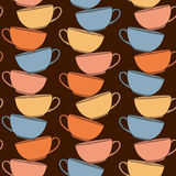 Hand drawn Tea Cups Illustration. Seamless vector pattern. Stock Photo