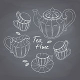 Hand drawn tea porcelain service set. Chalkboard Royalty Free Stock Photography