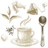 Hand drawn tea set royalty free illustration