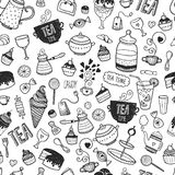 Hand drawn tea time background Stock Photography
