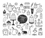 Hand drawn tea time collection Stock Images
