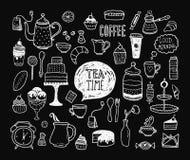 Hand drawn tea time collection Stock Photos